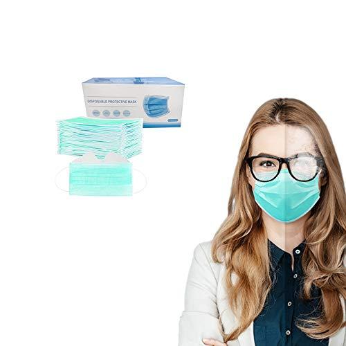 50 Stück Einmal-Mundschutz, Staubs-chutz Atmungsaktive Anti Nebel Mundbedeckung, Erwachsene, Sommerscha Bandana Face-Mouth Cover für Menschen mit Brille (50 Stück, Green)