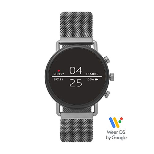 Skagen Connected Falster 2 Stainless Steel Magnetic Mesh Touchscreen Smartwatch, Color: Gunmetal Grey (Model: SKT5105)