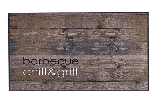 Große Angebote Design Grillmatte Grillunterlage Grillteppich Bodenschutzmatte Teppich Vorleger rutschfest waschbar robust BBQ Motiv für Gasgrill Grill Terrasse Garten Outdoor 67x120 Groß (Chill&Grill)