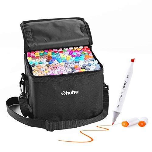 Graffiti Stift Permanent Marker, Ohuhu 160 Farben Kunst Marker, Doppel Spitzen Marker für Kinder Erwachsene Färbung, Alkohol-basierte Sketch Marker zum Zeichnen Skizzieren, 1 Farbloser Marker Mixer