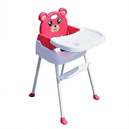 Seggiolone pieghevole 4 in 1 per bebè con vassoio, cintura di sicurezza, per l'alimentazione, altezza regolabile, blu