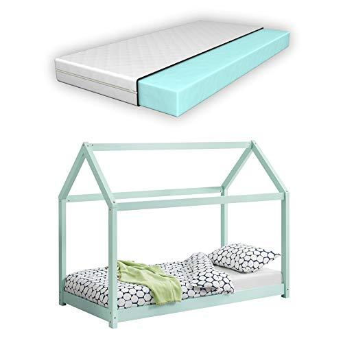 [sv.casa] Barnsäng med madrass i olika storlekar och färger trä hus design furu säng träsäng hussäng kallskummadrass ekotex standard 100 allergikerlämplig andas 80x160 cm Mint
