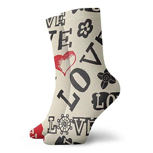 Tammy Jear Valentines Lip Cupid Vino tinto Patrón negro Calcetines de equipo Cálido Comodidad Bota duradera Invierno Divertido Calcetines para clima frío