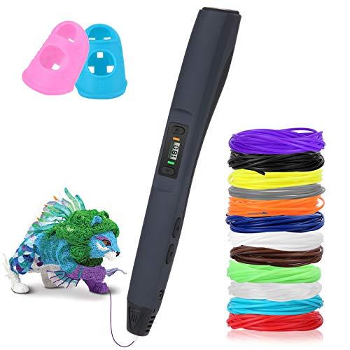 Uzone Penna 3D, 3D Penna da Stampa per creativo, Schermo LCD , Controllo Della Temperatura e Regolazione a 8 Velocità, Compatibile con Filamento PLA / ABS. Giocattoli / Regali di Natale per Bambini.
