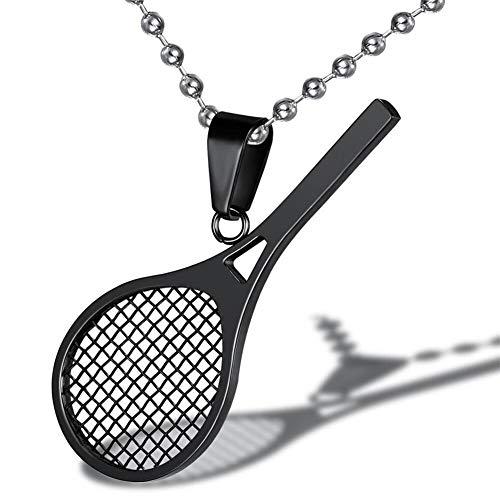 AILUOR Collana con ciondolo a forma di racchetta da tennis in acciaio inossidabile Smashing Racchetta e palla Ciondolo da tennis con ciondolo sportivo semplice Regalo perfetto per lui o lei (Nero)