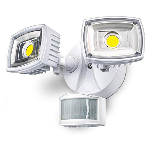 Home Zone ES00730V Security Motion Sensor, Outdoor Weatherproof Ultra Bright 5000K LED Flood Lights, White