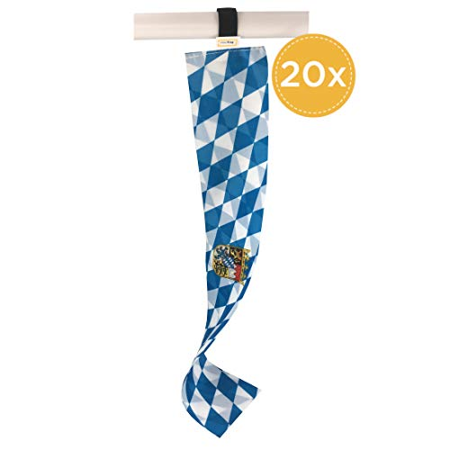 20er-Set Freistaat Bayern Mini-Länderflagge mit Flexibler Schlaufenhalterung , Kleine Deko-Fahne als Souvenir und Fanartikel zur Oktoberfest-Dekoration u.v.m.