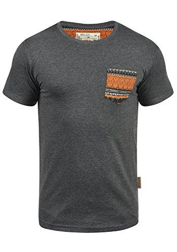 INDICODE Paxton Herren T-Shirt Rundhals Brusttasche, Grey Mix (914), L