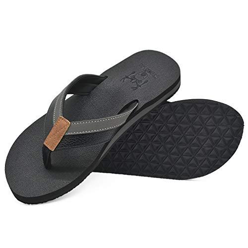KuaiLu Flip Flops Herren Flach Weich Leder Bade Sandalen Comfy Breite Füße Badelatschen Yoga Schaum Sommer Strand Zehentrenner,Dunkelschwarz,47 EU