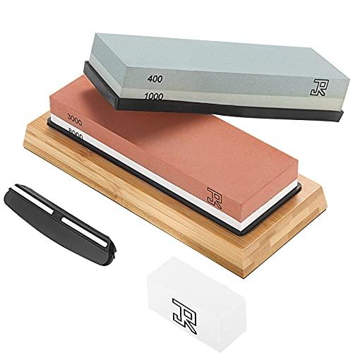 JR Schleifstein Abziehstein Wetzstein für Professionel 4-in-1 Doppelseitiger Messerschärfer, Körnung 400/1000 und 3000/8000 mit rutschfestem Silikonhalte für Küche Messer