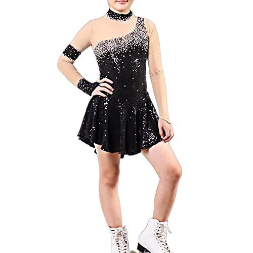Q&M Vestido de Baile Latino para Nias Lentejuelas Manga Larga Maillot de Gimnasia Ritmica Cuello Alto Disfraz de Rendimiento