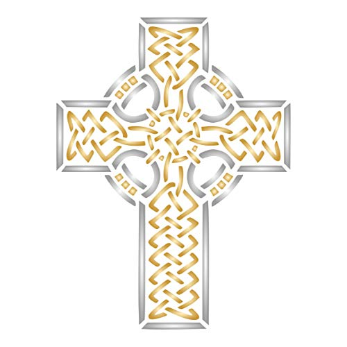 Celtic Cross Stencil, 6.5 x 8.5 inch (L) - Celtic Druid Religious Ethnic Tribal Knotwork Stencils for Painting Template