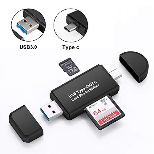 EasyULT USB 3.0 Lector de Tarjetas Memoria SD/Micro SD, USB 3.0 USB Tipo C Adaptador OTG Lector de Tarjetas Portátil, para PC y Tableta Teléfono Inteligente con Función OTG