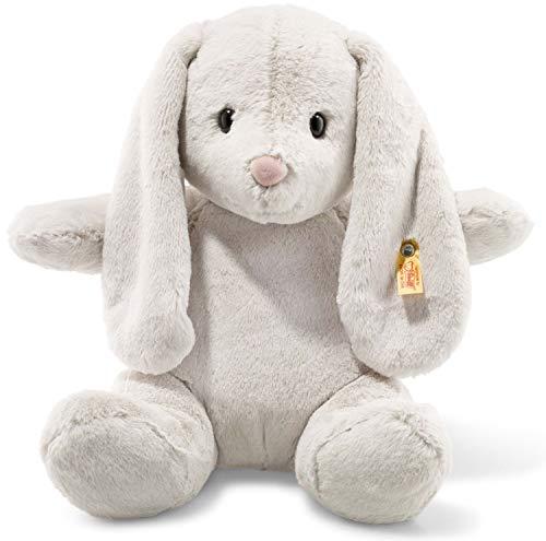Steiff Hoppie Hase - 38 cm - Plüschhase mit Schlappohren - Kuscheltier für Kinder - Soft Cuddly Friends -beweglich & waschbar - hellgrau (080487)