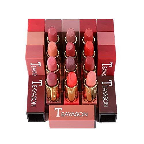 onewell 12-teiliges mattes Lippenstift-Geschenkset mit langlebiger, hochpigmentierter roter Lippenstift-Make-up-Kosmetik