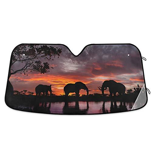 "KEEPREAL Car Windshield Sunshade Elephants At Sunset Front Auto Sun Shield Shade Visor Vehicle Accessories, 55"" × 27.6"""