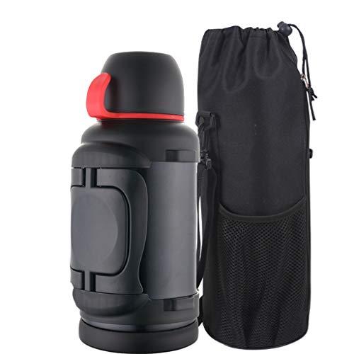 LRXG Pot D'isolation, Voiture 3L en Acier Inoxydable pour Extérieur de Grande Capacité Bouteille d'eau (Couleur : Noir)