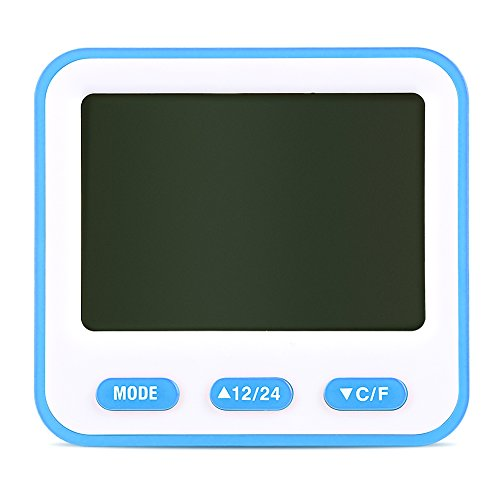 Multifunktionswecker, elektronische Digitaluhren mit Temperatur-, Feuchtigkeits- und Zeitanzeigefunktion, LCD-Zeitschaltuhren, können an der Wand aufgehängt oder auf den Tisch gestellt werden(Blau)