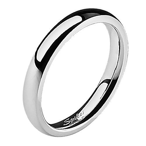 Mianova Band-Ring Edelstahl Herrenring Damenring Partnerring Trauring Verlobungsring Damen Herren Silber Größe 70 (22.3) Breit 4mm