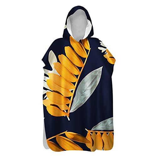 FANSU Poncho de Surf Poncho de Playa Poncho de Toalla con Capucha Toalla con Capucha de Microfibra Secado Rápido para Adulto Hombre Mujer (80x145cm,Hojas Amarillas)
