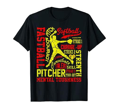Girls Softball Pitcher Best Traits Distressed Great Teen T-Shirt