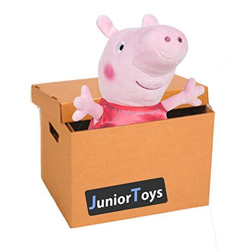JuniorToys Peppa Pig Mystery Paket mit 10 Artikeln inklusive Plüschfigur