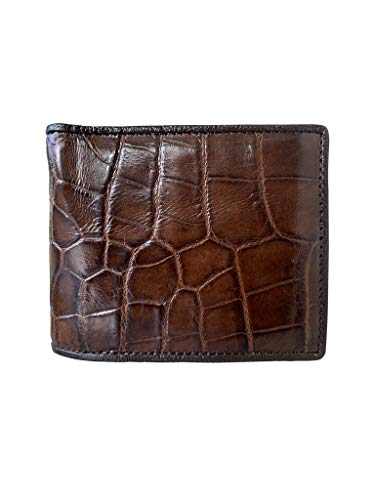 Cartera de piel de cocodrilo auténtica para hombre, con 5 ranuras para tarjetas de crédito, diseño vintage para más varonil, 100% hecha a mano para una cartera minimalista.