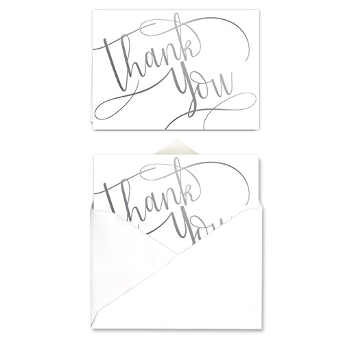 Silver Foil Thank You Note Card Pack - Set of 50 cards, blank inside - with envelopes