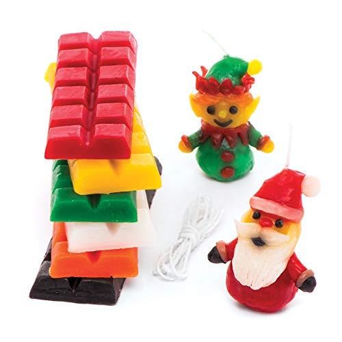 Baker Ross AR690 Weihnachts-Kerzen Basteln und Dekorieren für Kinder, 240 g Kerzenwachs pro Set, Sortiert