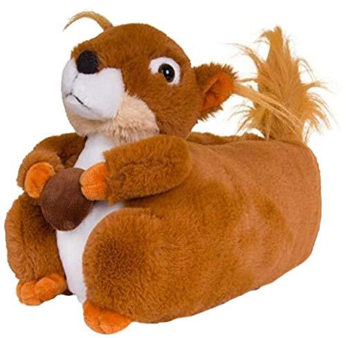 Tier Plüsch Pantoffeln Unisex – Kinder & Erwachsene - Ausfall Eichhörnchen, EU 36/37