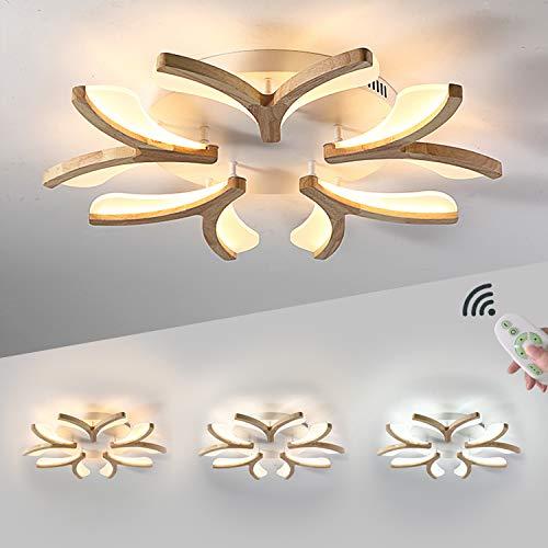 LED-Deckenleuchte Holz, Dimmbar Wohnzimmer-Lampe, Modern Deko Wohnzimmerlampe, Blume-Form Schlafzimmer Leuchte Deckenlampe, Decke Licht 50W mit Fernbedienung, Ø70CM Weiß Acryl Lampenschirm Holzlampe