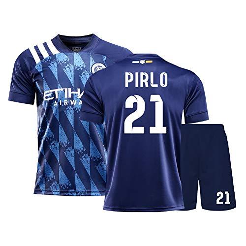 2020-2021 New Yorker Heimfußballtrikots, T-Shirt-Shorts, 7 David Villa # 21 Pirlo für Männer/Jugendliche/Kinder/Jungen, anpassbare Lieblingsfußballstars-blue21-XXL