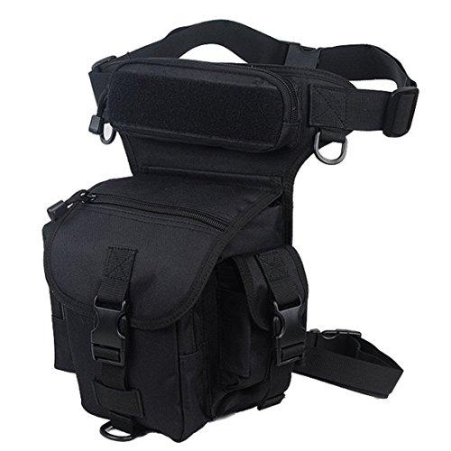 Buwico® Homme Taille Sac de jambe tactique Outdoor Sport Ride étanche spéciale Drop utilitaire cuisse Pochette pour randonnée, la pêche