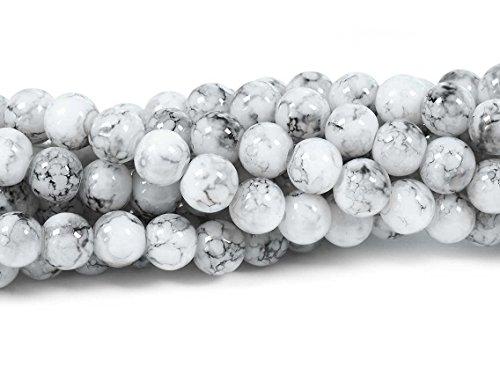 marmorierte Glasperlen in weiß-grau 6 mm 40 Stück von Vintageparts DIY Schmuck Marmor Marmorlook Schmuckperlen