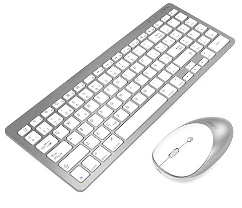 inphic Ultra-Slim Bluetooth Keyboard Mouse Combo Wireless UK Layout Compatible with iPad 10.2/9.7, iPad Air 10.5, iPad Pro 11/12.9, iPad Mini 5/4, iPhone and other Bluetooth Enabled Devices, White