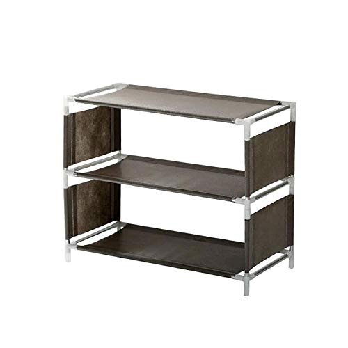 JIADUOBAO Zapatero de varias capas para el hogar, estante de almacenamiento de tela para el polvo, económico, pequeño, escalable y duradero, fácil de montar (color: gris)