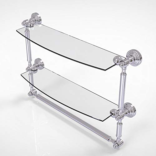 Allied Brass WP-34TB/18 Waverly Place Collection 18 Inch Two Tiered Integrated Towel Bar Glass Shelf, Polished Chrome