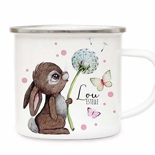 Emaille Becher Camping Tasse Motiv Hase Häschen Pusteblume Schmetterlinge rosa Punkte & Wunschname Name Kaffeetasse Geschenk eb490 - ausgewählte Farbe: *silberner Becherrand*