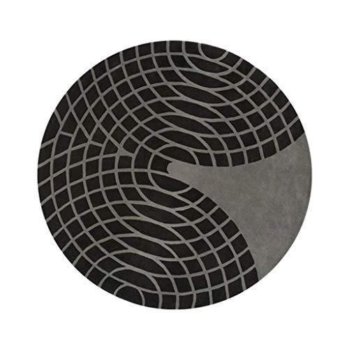 LINANA Imported Wollteppich Bodenmatte Runde, Schwarze, ovale, unregelmäßige Streifen, einfacher und großzügiger Teppich (Color : Black, Size : 2.2M)