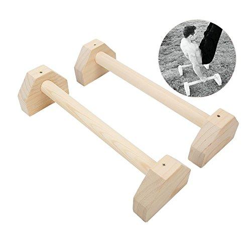 Lacyie Parallettes - Juego de 2 barras de madera para ejercicios de yoga con doble asa