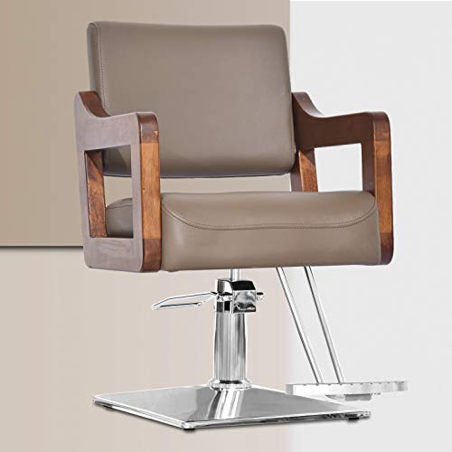 OKAKOPA Classic Styling Salon Chair, Heavy Duty Barber Chair for Hair Stylist Equipment Height Adjustable with Wooden Armrest