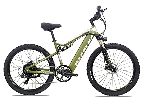 Electric Mountain Bikes for Adults 27.5'' Electric Bicycle, Hydraulic Brakes, 500W Ebike with13ah Removable Lithium Battery Moped Cycle, Full Suspension E-MTB, Professional 8-Speed Gears (Army Green)