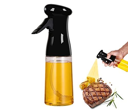 Olive Oil Sprayer for Cooking,Oil Dispenser Bottle Spray Mister for Air Fryer, Portable Refillable Food Grade Kitchen Cooking Oil Bottle Mist Spritzer for Baking, BBQ, Salad, Frying, 7oz(210ml),Black