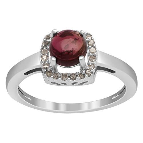 Vibrante rosa turmalina piedras preciosas con diamante 925 anillo de solitario de plata esterlina (12)