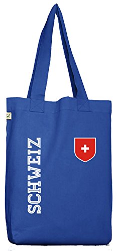 Swiss Fußball WM Fanshirt Gruppen Bio Baumwoll Jutebeutel Stoffbeutel Fan Trikot Schweiz, Größe: onesize,Bright Blue