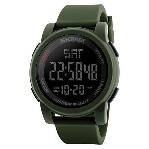 JTTM Reloj Deportivo Digital para Hombre con Pantalla LED Grande, Esfera Grande, Resistente al Agua, Casual, Luminoso, cronómetro, Alarma, Reloj de ejército,Verde