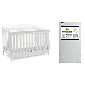 Delta Children Westminster 6-in-1 Convertible Baby Crib, Bianca White + Serta Perfect Slumber Dual Sided Recycled Fiber Core Crib and Toddler Mattress (Bundle)