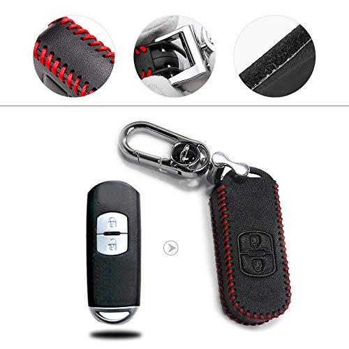 Muchkey Autoschlüssel Hülle - Kunstleder Schutzhülle Schlüsselhülle Cover für CX7 CX-5 CX5 ACX-7 CX-9 MX5 Smart 2-Tasten-Taste Roter Faden 1 Stück
