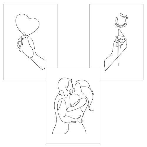 ChicResult Line Art Wandbilder Paarliebe 3er Set moderne Poster - Deko Bilder für Wohnzimmer, Schlafzimmer, Flur - Wanddeko (DIN A4 ohne Bilderrahmen)