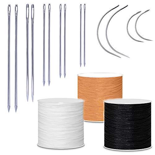 Aweisile 17 piezas Hilo para Coser Toldos Kit de costura Hilo Encerado de Cuero Agujas de Coser de Lona de Cuero Hilo Encerado de Cuero para billetera manualidades de cuero